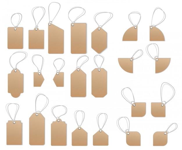 Etiqueta marrón, conjunto de etiquetas de precios con textura