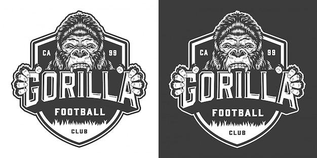 Etiqueta de mascota de club de fútbol enojado gorila