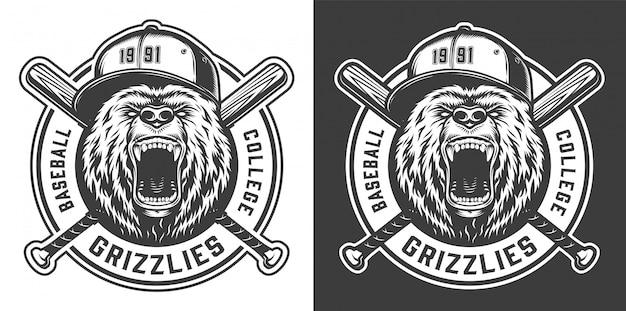 Etiqueta de mascota del equipo de béisbol vintage college