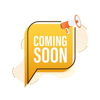 Etiqueta de megáfono próximamente. banner de megáfono. diseño web. ilustración de stock vectorial.