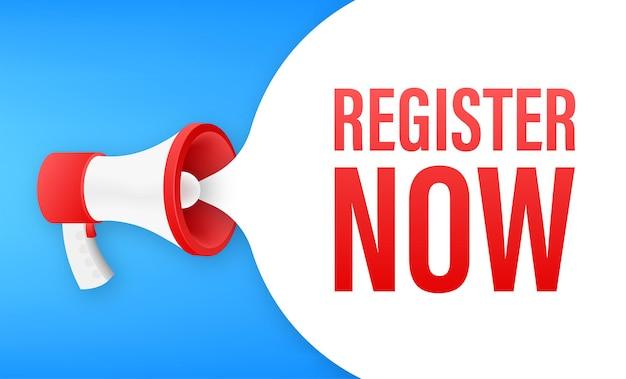 Etiqueta de megáfono con registro ahora. banner de megáfono. diseño web. ilustración de stock vectorial.