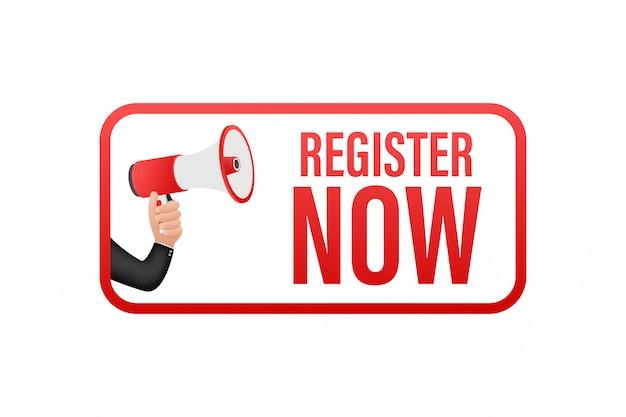 Etiqueta de megáfono con registro ahora. banner de megáfono diseño web. ilustración de stock