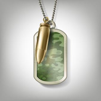 Etiqueta de metal de camuflaje de soldado con bala en la cadena