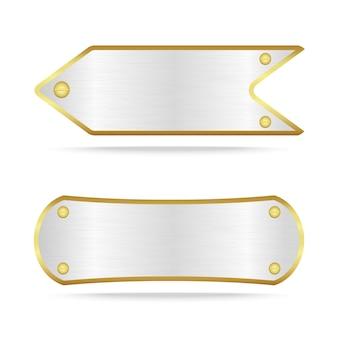 Etiqueta de metal plateado con tornillo.