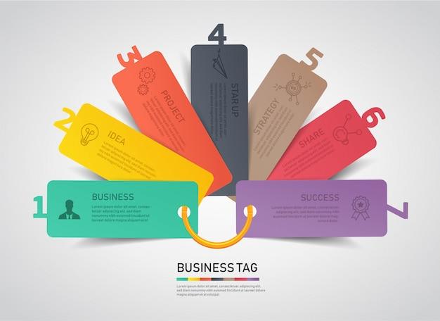 Etiqueta moderna opciones de infografía de negocios.
