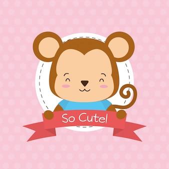 Etiqueta de mono, animal lindo, dibujos animados y estilo plano, ilustración