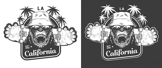Etiqueta monocroma vintage skateboarding