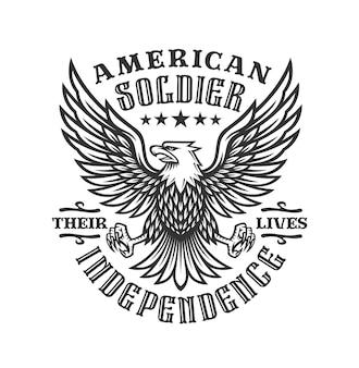 Etiqueta monocromática de soldado americano con águila en diseño vintage