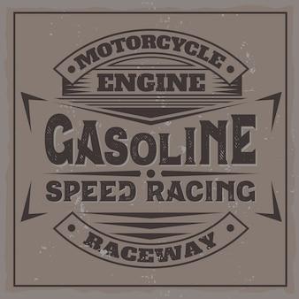 Etiqueta de motor vintage con composición de letras