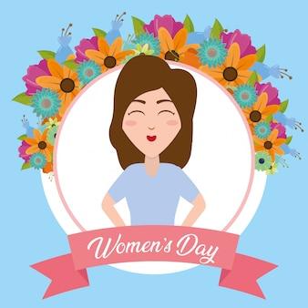 Etiqueta de mujer feliz con tarjeta de felicitación de flores, feliz día de la mujer