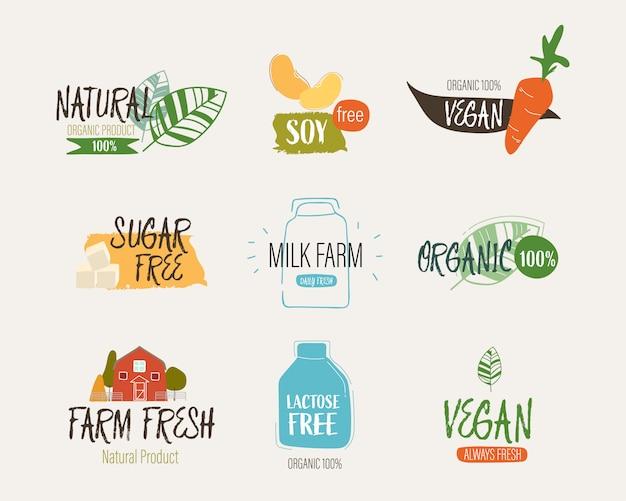 Etiqueta natural y agricultura de banner orgánica fresca.