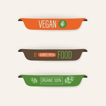 Etiqueta natural y orgánica y banner de comida fresca vegana.