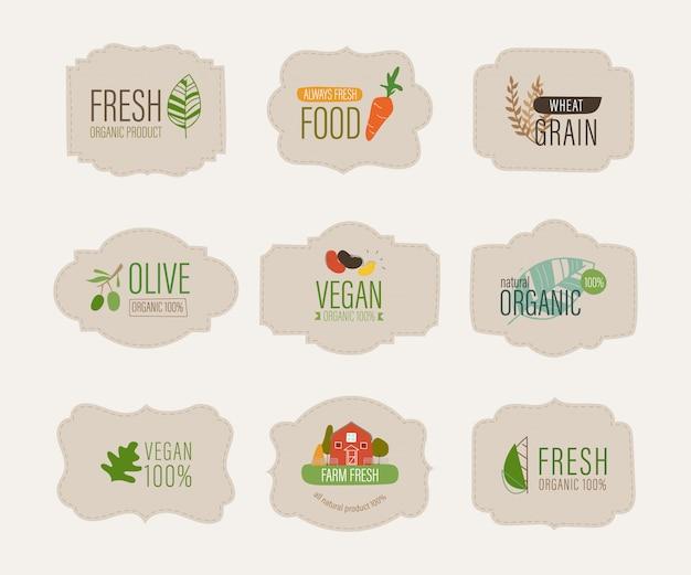 Etiqueta natural y pancarta orgánica fresca.