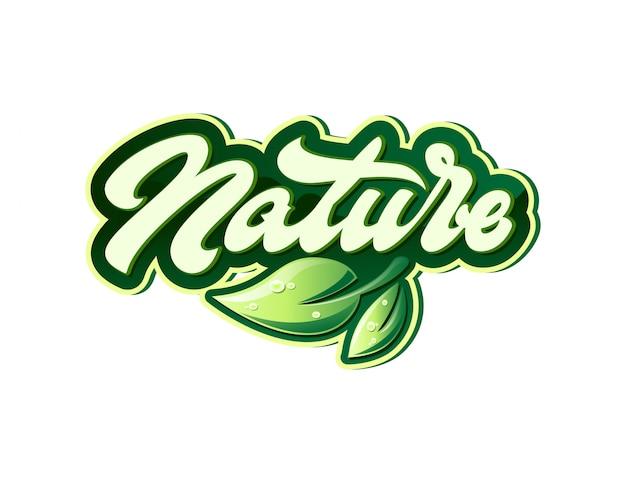 Etiqueta de naturaleza en estilo de letras