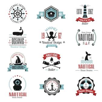 Etiqueta náutica de moda con logotipo náutico