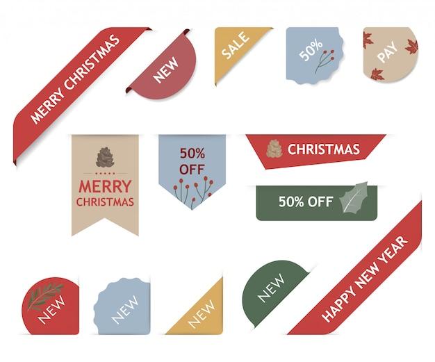 Etiqueta de navidad y conjunto de etiquetas de banner de navidad.