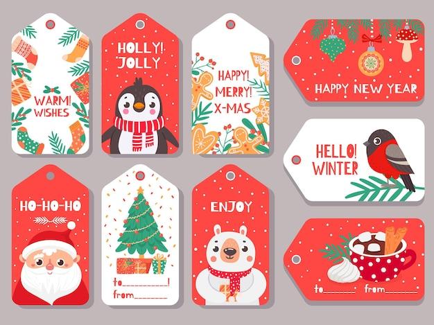 Etiqueta de navidad. etiquetas de regalo de navidad de vacaciones de invierno con personajes lindos santa, oso y camachuelo, pingüino y conjunto de vectores de letras festivas. abeto con cajas presentes, cacao con malvavisco