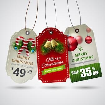 Etiqueta de navidad hermosa con decoración de adorno de navidad.