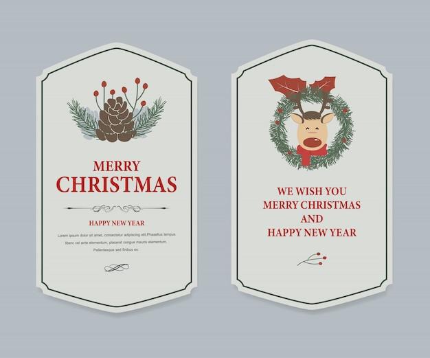 Etiqueta de navidad y vintage banner de navidad.