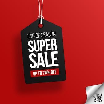 Etiqueta negra moderna de la venta con el fondo rojo