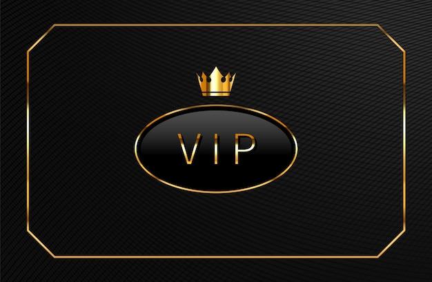 Etiqueta negra vip con corona dorada. diseño de plantilla de tarjeta de lujo.