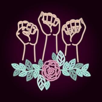 Etiqueta de neón del día de la mujer con las manos puño y rosas