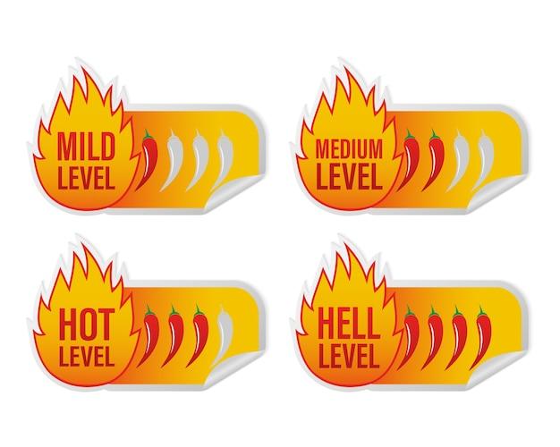 Etiqueta de nivel picante sobre fondo blanco. ilustración. ardiente.