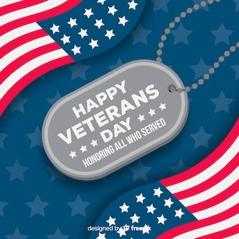 Etiqueta de nombre del día de los veteranos con bandera americana