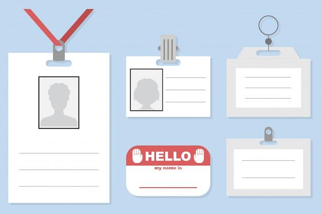 Etiqueta de nombre, distintivo, tarjeta de identificación y etiqueta con elementos de amarre y clips conjunto de plantillas de vectores aislados