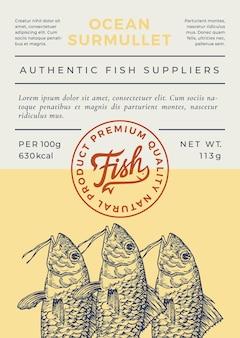 Etiqueta o diseño de envases abstractos de peces de mar