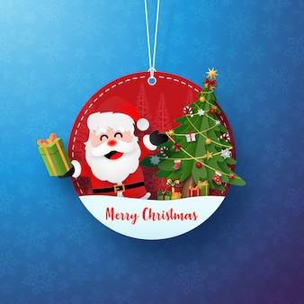 Etiqueta o etiqueta de círculo navideño