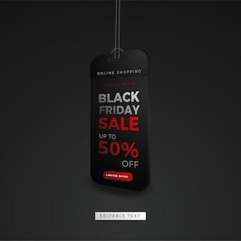 Etiqueta o etiqueta de compras en línea de viernes negro