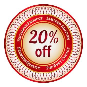 Etiqueta o etiqueta redonda roja y dorada con un 20 por ciento de descuento