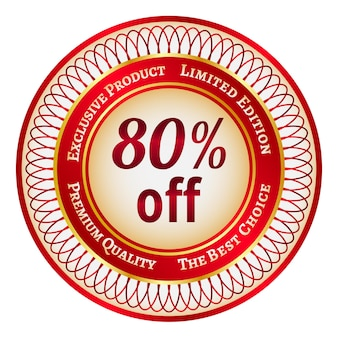 Etiqueta o etiqueta redonda roja y dorada con un descuento del 80 por ciento