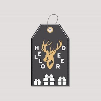 Etiqueta o etiqueta del regalo de la feliz navidad y del año nuevo.