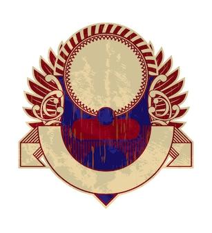 Etiqueta o logotipo antiguo vintage, estilo heráldico