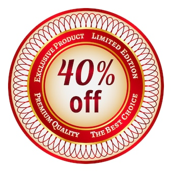 Etiqueta o pegatina redonda roja y dorada con un 40 por ciento de descuento