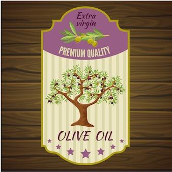 Etiqueta de oliva en madera