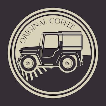 Etiqueta original de café con transporte