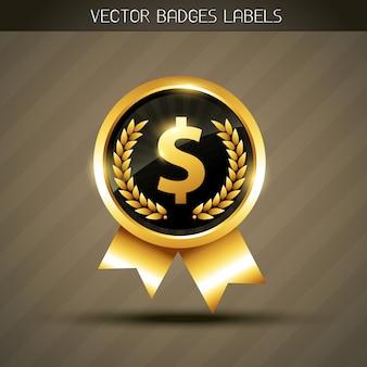 Etiqueta de oro del dólar