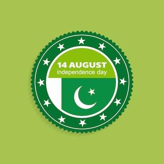 Etiqueta de pakistán para el día de la independencia