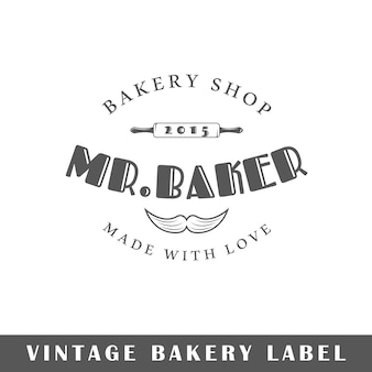 Etiqueta de panadería aislada sobre fondo blanco. elemento de diseño. plantilla para logotipo, señalización, diseño de marca.