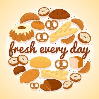 Etiqueta de panadería fresh every day con un diseño circular de bagels, rosquillas, hogazas de pan surtido