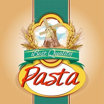 Etiqueta de paquete de pasta