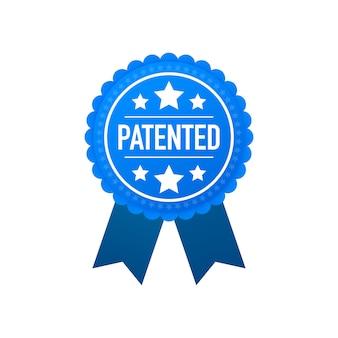 Etiqueta patentada azul sobre blanco
