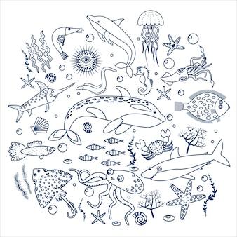 Etiqueta de peces y animales marinos.