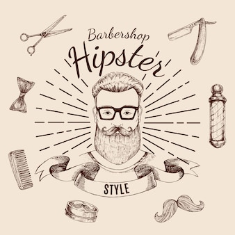 Etiqueta de peluquería hipster