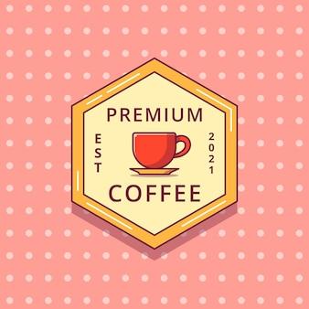 Etiqueta de placa plana de logotipo de dibujos animados de café.