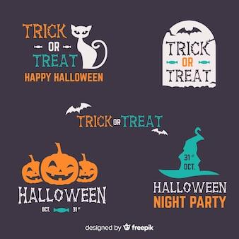 Etiqueta plana de halloween y colección de insignias sobre fondo negro