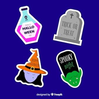 Etiqueta plana de venta de halloween y colección de insignias
